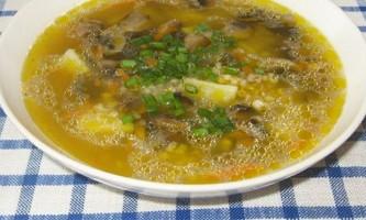Грибний суп з ячної крупою