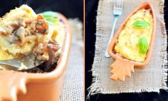 Картопляна запіканка з овочами-мікс і м`ясним фаршем