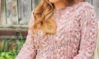 Меланжевий (рожевий) пуловер з візерунком з кіс