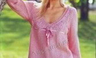 Пуловер з ажурною кокеткою