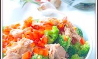 Салат з брокколі із тунцем і помідорно-лимонної заправкою. - рецепт