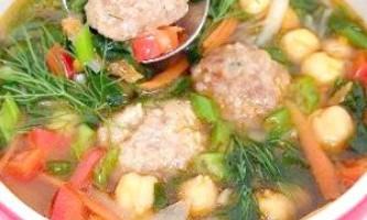 Шпинатовий суп з горохом нут і м`ясними фрикадельками - рецепт